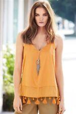 NEW NEXT 10 tall gold orange pom pom tassel fringe sleeveless tunic top festival