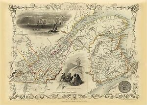 Old Vintage Map of East Canada and New Brunswick richly illustrated Tallis 1851