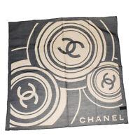 Authentic CHANEL CC Logo Scarf Handkerchief Silk Blend Black Beige Italy 02AC282