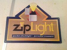 """Zippo Lighter Sign Zip Light Embossed Metal 5"""" x 12"""" Excellent Condition"""