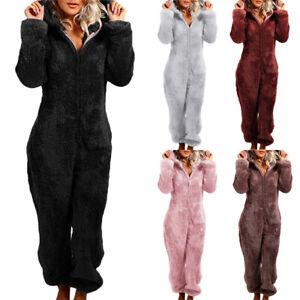 Women Winter Warmer Soft Fluffy Fur Fleece Hooded All In One Jumpsuit 1Onesie UK