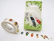 Japanese washi tape! Kokeshi dolls & noh masks, kitsune fox, fans, theater masks