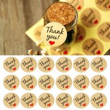 "60Pcs Kraft Paper Love Heart ""Thank You"" Sticker Decorative Baking Sealing Paste"