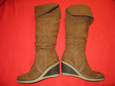 ladies size 8 brown wedge  boots heels used briefly