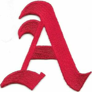 """3"""" Fancy Red Old English Alphabet Letter A Embroidered Patch"""