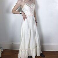 Vintage Candi Jones California White Eyelet Maxi Dress Small Prairie Bohemian