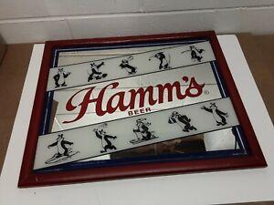 "Hamm's Beer Mirrored Sign. Iconic Sports Hamm's Bear. 22""x18"" Bar Advertisement"