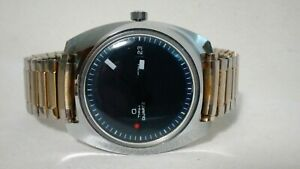 Vintage Timex Q Quartz 1500  A Cell Mens Watch Blue Dial