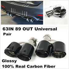 Pair Glossy Real Carbon Fiber Car Dual Pipe Exhaust Pipe Muffler Tip Tail Throat