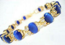 Blue Opal Beads Crystal Yellow Gold Plated Link Clasp Bangle Bracelet