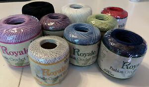 J&P. coats Royale Crochet Thread Lot white black blue red purple