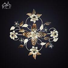 Plafoniera soffitto lampada classico ferro battuto cristalli foglie strass