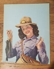 Vintage 1946 Pin Up Hey Fellas! Fishing C. Moss Litho on Paper