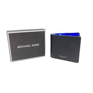Michael Kors Men's Henry Black Smooth Leather Slim Billfold Wallet RFID with box
