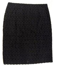 Talbots Collection Womens Black Wool Blend Lined Rear Slit Skirt 12