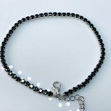 """Black Spinel Sterling Silver 8"""" Tennis Bracelet JTV DOCX455 6.48ctw"""