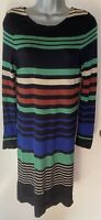 Hobbs Multi Stripe Jumper dress 55% silk 40% cotton 5% cashmere size 10
