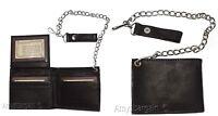 men's genuine leather bifold chain wallet motorcycle trucker biker black wallet