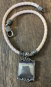 Vintage Brighton Leather Necklace Chunky w Square Reversible Pendant