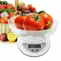 LCD Digital Kitchen Scale with Bowl 11LBS Electronic Weight Food T1Q4 Diet Z5W0