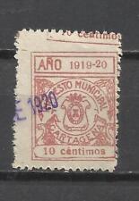 C46-SELLO 1919 FISCAL LOCAL GRAN ERROR IMPRESION CARTAGENA MURCIA 1919-20.SPAIN
