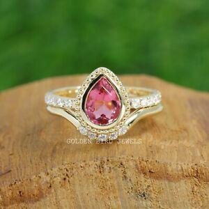1.15 CT Pink Tourmaline Gemstone Pear Cut Bridal Ring Set With Moissanite Band