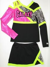 "FUNKY GALAXY Cheerleader Uniform Outfit Costume FUN 34"" Top Elastic Skirt Yth L"