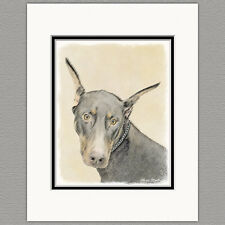 Doberman Pinscher Dog Original Art Print 8x10 Matted to 11x14