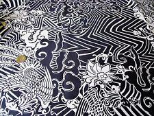STRETCH COTTON PRINT-LARGE ZIGZAG MONO FLORAL -WHITE/BLACK-DRESS FABRIC-FREE P&P