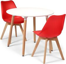 Toulouse Tulip Eiffel Style Dining Set 90cms Round White Table & 2 Red Chairs