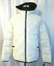 KARL LAGERFELD MEN'S WHITE PACKABLE QUILTED PUFFY HOODIE JACKET SIZE L NWT $259