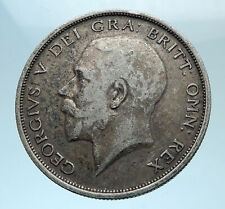 1915 Great Britain United Kingdom UK King GEORGE V Silver Half Crown Coin i78154