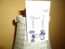 Genuine Amethyst Stones with Glass Beads on Silvertone Ear Wire