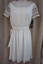 M60 Miss Sixty Dress Sz 10 Vanilla Short Sleeve Pleated Belted A Line Cocktail
