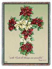 70x53 POINSETTIA CROSS  Floral Religious Tapestry Afghan Throw Blanket