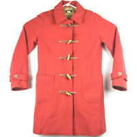 J. Crew Womens XS Red Wool Blend Slip Pocket Toggle Button Trench Duffle Coat