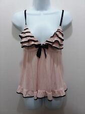 Victoria's Secret Sexy Little Things Babydoll Bow Ribbon Black Pink Open Back M