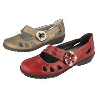 Ladies Ruby Red / Bronze Leather Riptape Suave By Sandapiper Shoes Jade