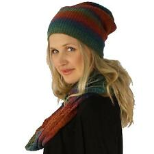 Ladies 2pc Winter Ombre Knit Long Beanie Hat Infinity Scarf Ski Set Rainbow Org