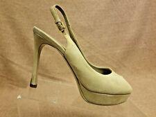 Yves Saint Laurent Women Shoes Gray Sandals Slingback Peep Toe Suede Heels Sz 37