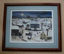 """Will Moses Framed """"Vermont Christmas"""" Signed Lithograph #488/500 with COA"""