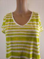 Ann Taylor Loft Sunwashed Women's Top Blouse Green White Striped Size Medium