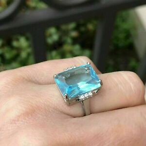 5.2Ct Emerald Cut Aquamarine Solitaire Engagement Ring Solid 14K White Gold Over