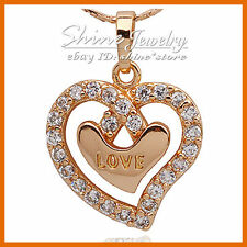 9K ROSE GOLD FILLED HEART SIMULATED DIAMOND HUG XMAS GIFT SOLID PENDANT NECKLACE