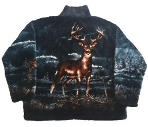 Black Mountain Buck Whitetail Deer Ultra Plush Fleece Jacket (XL, 2x)