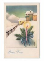 1951 MB Greeting Cards Merry Christmas Card Fp Nmm Candle Winter Landscape