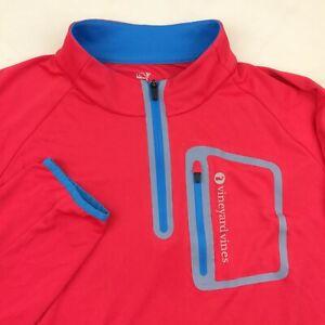 Vineyard Vines Mens 2XL Pink Blue Performance 1/4 Zip Pullover Jacket $145