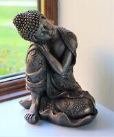 Sitting Buddha Bronze Effect Home Decor Indoor Statue Ornament Thai 25cm
