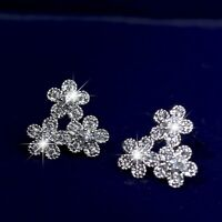 18k white gold GF made with Swarovski crystal stud earrings flower 925 silver
