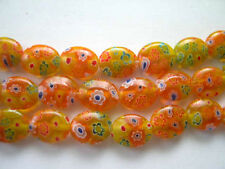 Millefiori glass oval beads 8X10mm Yellow